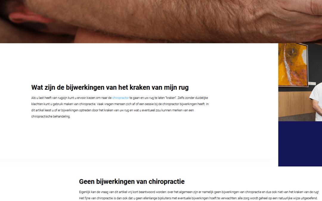 Medische content marketing voor chiropractors