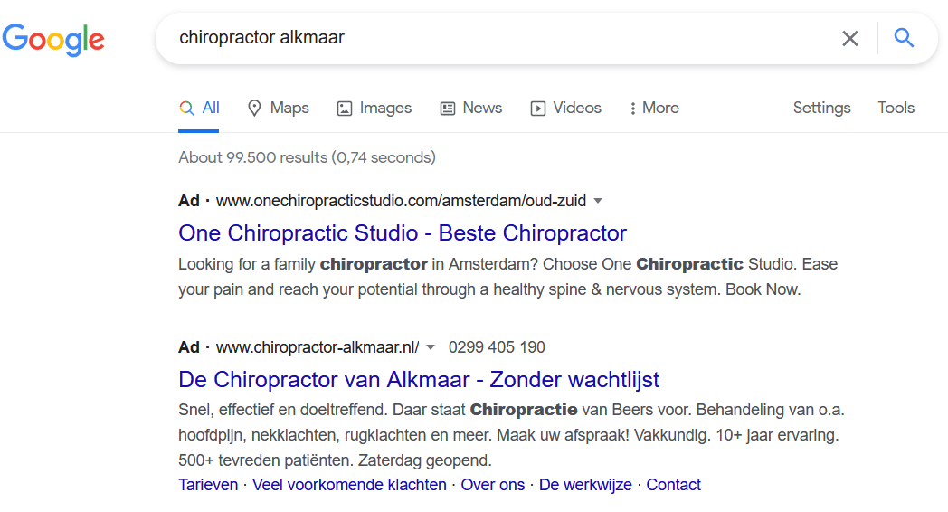 The best Google Ads text ads for chiropractors