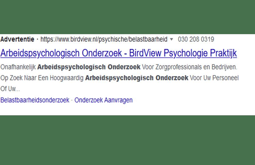 Tekstadvertentie arbeidspsychologisch onderzoek