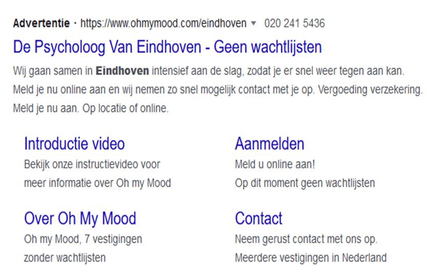 Tekstadvertentie psycholoog Eindhoven
