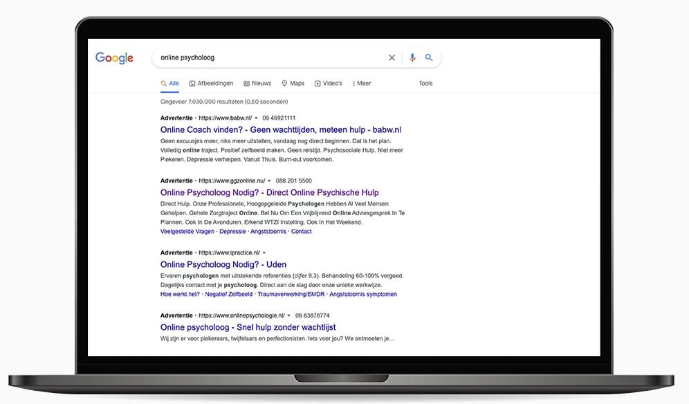 Google Ads online psycholoog